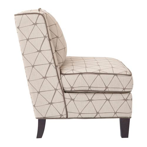 Marseilles Chair in Geo Taupe Fabric with Self Piping and Coffee Colored Legs