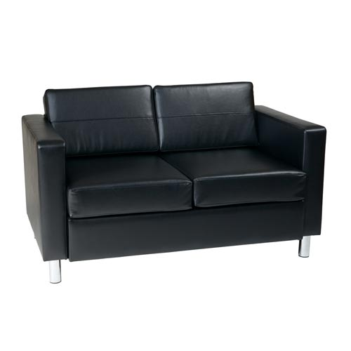 Pacific Black Faux Leather and Vinyl Loveseat