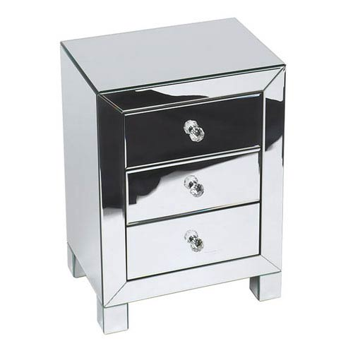 Avenue Six Reflections Silver Mirrored Three-Drawer Accent Table