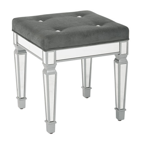 Reflections 18-Inch  Mirror Finish Framed Stool with Padded Graphite Velvet Fabric Top