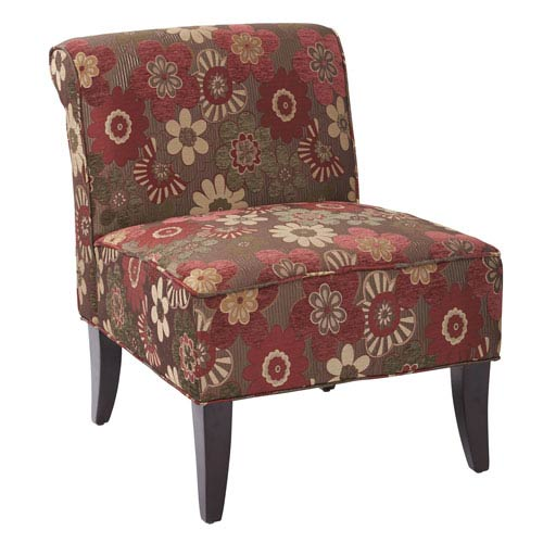 Naomi Chair in Morgan Scarlett Merlot Fabric with Dark Espresso  Legs