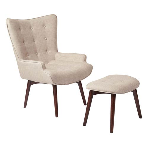 Dalton Chair with Ottoman in Milford Toast with Medium Espresso  Legs