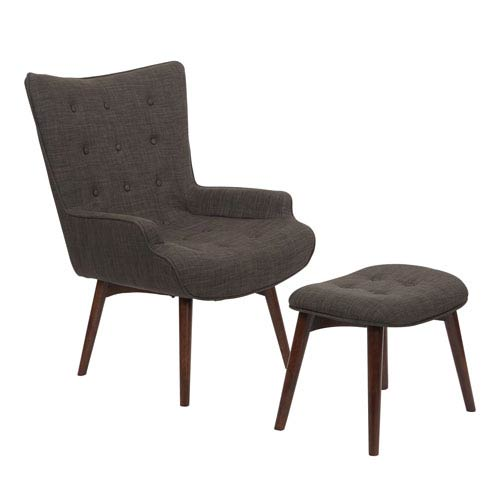 Dalton Chair with Ottoman in Milford Asphalt with Medium Espresso  Legs