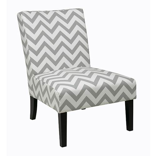 Avenue Six Victoria Zig Zag Grey Accent Chair