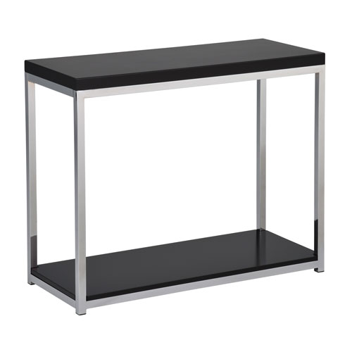 Avenue Six Wall Street Foyer Table in Chrome and Black Finish