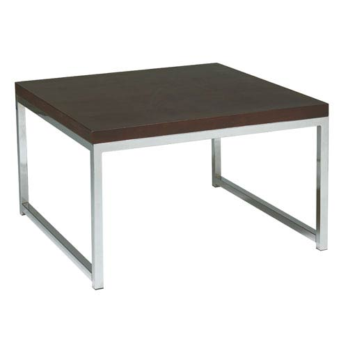 Wall Street Chrome and Espresso End Table