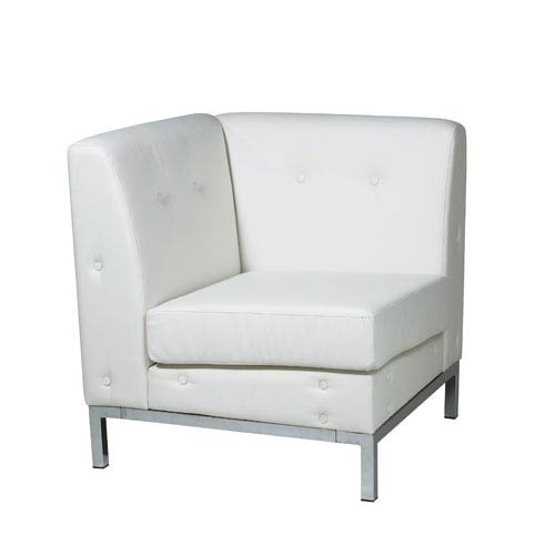 Avenue Six Wall Street White Faux Leather Corner Chair