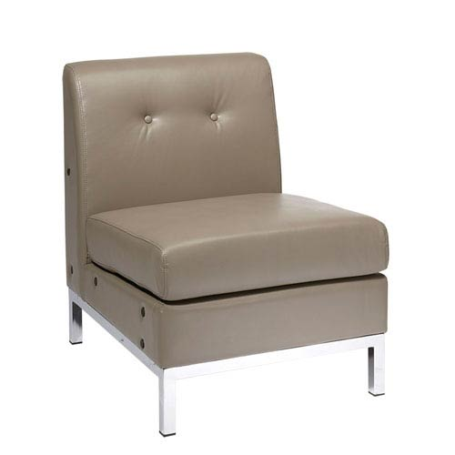 Wall Street Smoke Faux Leather Armless Chair