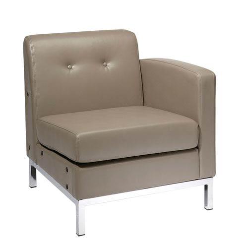 Wall Street RAF Smoke Faux Leather Single Arm Chair