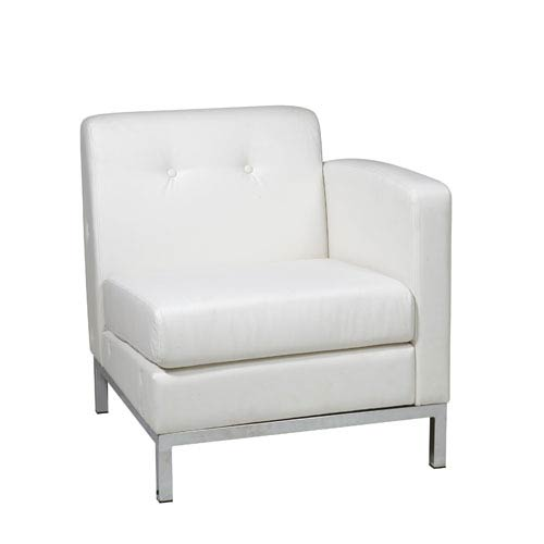 Avenue Six Wall Street White Faux Leather Right Arm Chair
