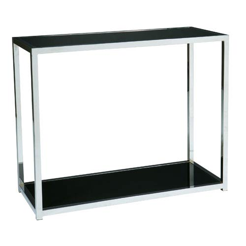 Avenue Six Yield Chrome And Black Glass Console Table