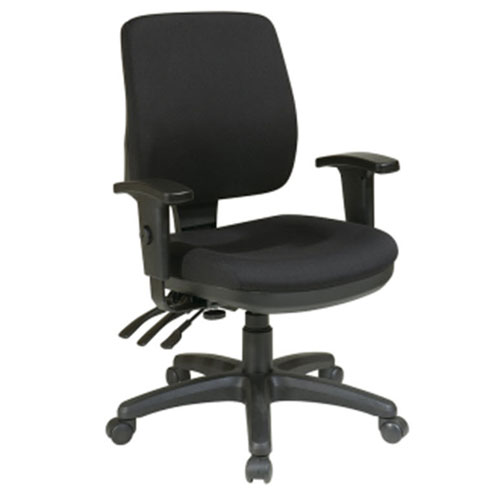 Work Smart Mid Back Dual Function Ergonomic Chair with Ratchet Back Height Adjustment with Arms, Custom Fabric Choice