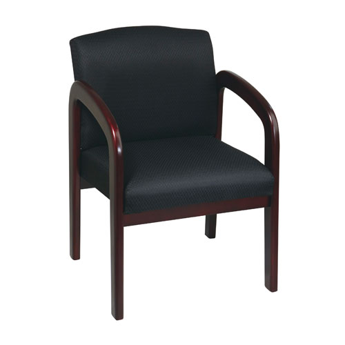 Work Smart Mahogany Finish Wood Visitor Chair Black Triangle Colored Fabric