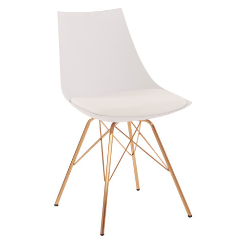 Oakley Chair in White Faux Leather with Gold Chrome Base