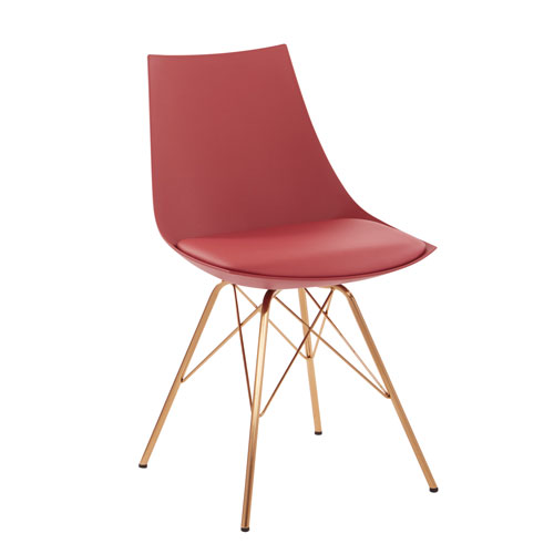 Oakley Chair in Desert Rose Faux Leather with Gold Chrome Base