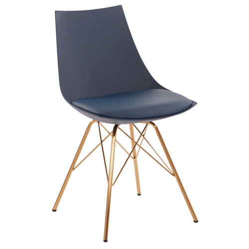 Oakley Chair in Navy Faux Leather with Gold Chrome Base