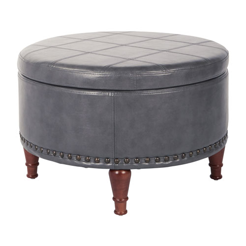 Alloway Storage Ottoman in Pewter Faux Leather with Antique Bronze Nailheads