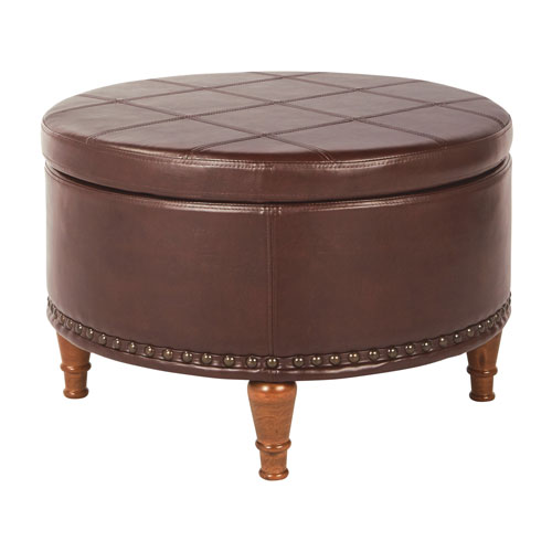 Alloway Storage Ottoman in Espresso Faux Leather with Antique Bronze Nailheads