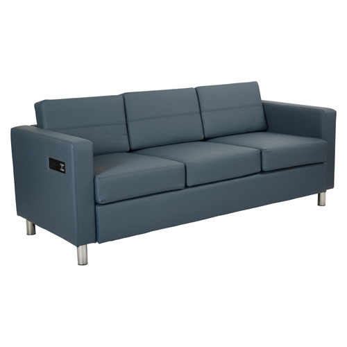 Atlantic Sofa with Dual Charging Station in Dillon Blue Fabrics
