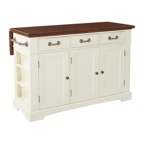 Country Kitchen Large Kitchen Island in White Finish with Vintage Oak Top with Drop Leaf
