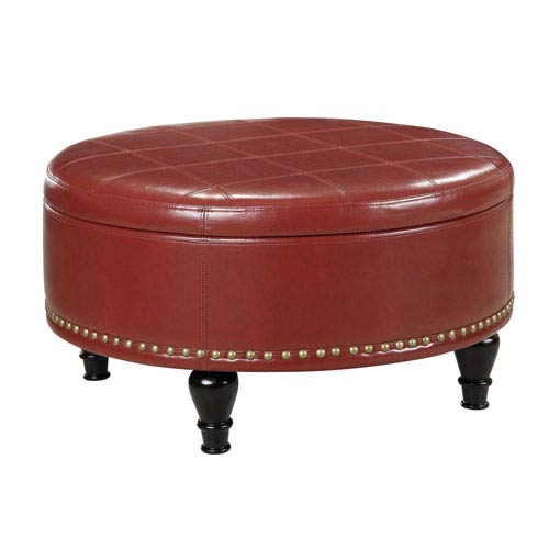Office Star Products INSPIRED by Bassett Augusta Crimson Red Storage Ottoman