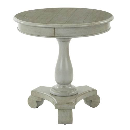 Avalon Round Accent Table, Antique Grey