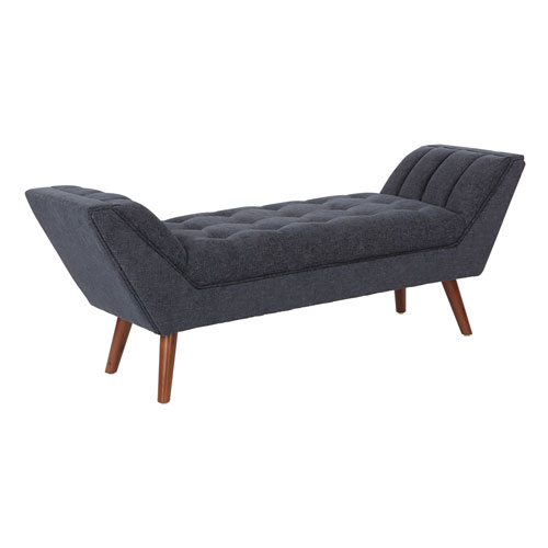 Penny Bench in Cush Navy Fabric with Amber Finished Legs
