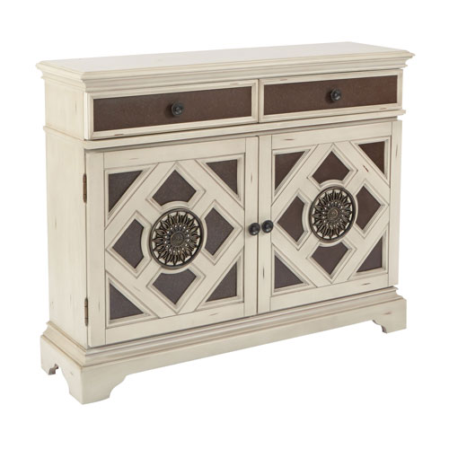 Queensway Storage Cabinet in Antique White with a Black Finish ASM