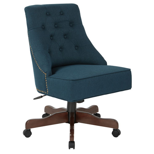 Rebecca Tufted Back Office Chair in Klein Azure Fabric with Nailheads with Coffee Base