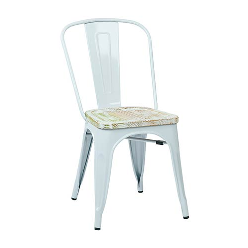 Bristow White and Pine Irish Metal Chair with Vintage Wood Seat, Set of 2