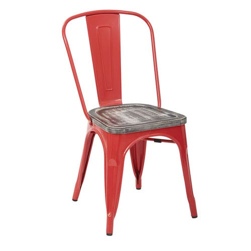 Office Star Products Bristow Metal Chair with Vintage Wood Seat, Red Finish Frame and Ash Crazy Horse Finish Seat, Set of 4