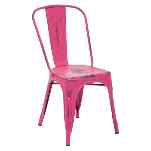 Office Star Products Bristow Antique Pink Armless Chair, Set Of 2 ...