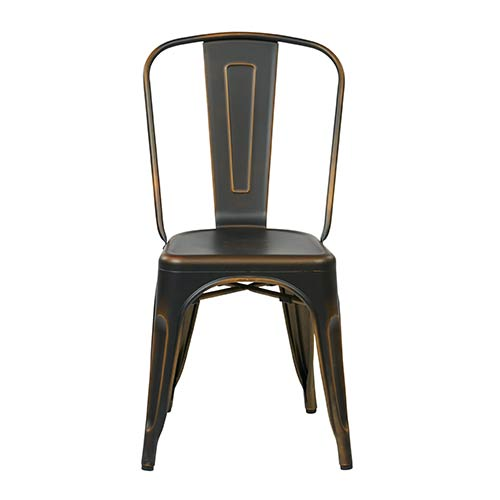 Office Star Products Bristow Antique Copper Armless Chair, Set of 4