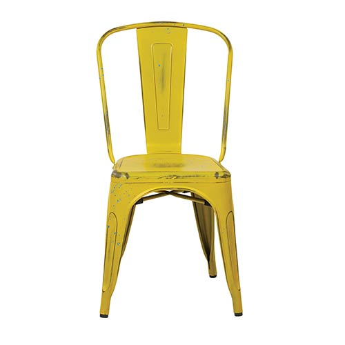 Office Star Products Bristow Antique Yellow Armless Chair, Set of 4