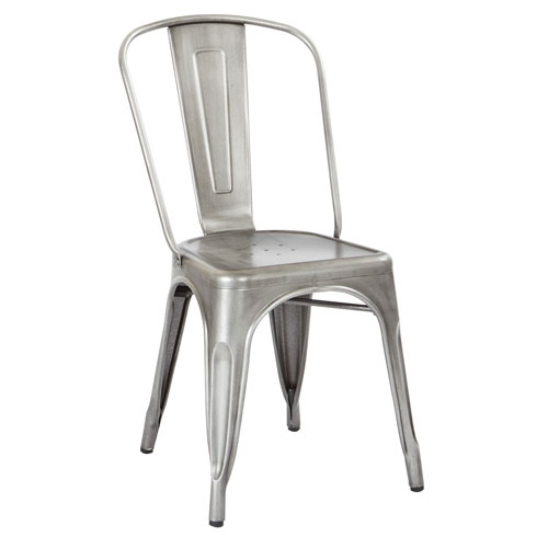 Bristow Armless Chair, Brushed Silver Finish, 4 Pack