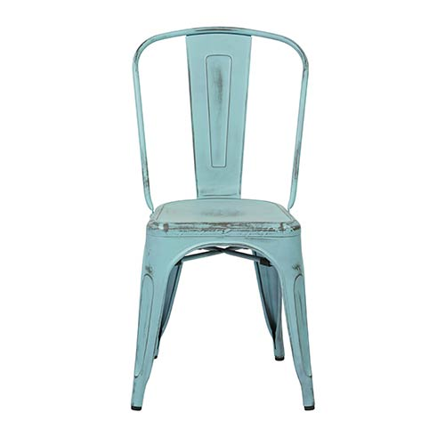Office Star Products Bristow Antique Sky Blue Armless Chair, Set of 4