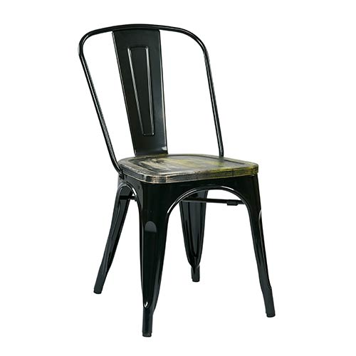 Bristow Black Frame and Ash Cameron Seat Metal Chair with Vintage Wood Seat, Set of 4