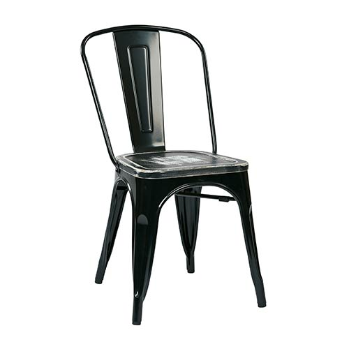 Office Star Products Bristow Black Frame and Ash Crazy Horse Seat Metal Chair with Vintage Wood Seat, Set of 4