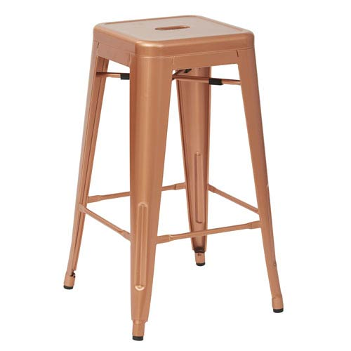 Office Star Products Bristow 26 Inch Antique Metal Barstools Copper Set Of 2