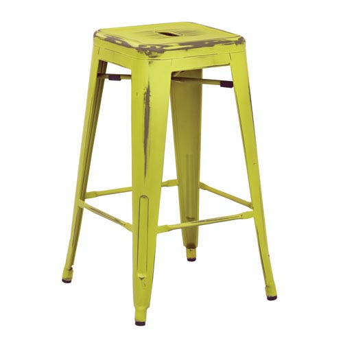 Bristow 26-Inch Antique Metal Barstool, Antique Lime Finish, Set of 4