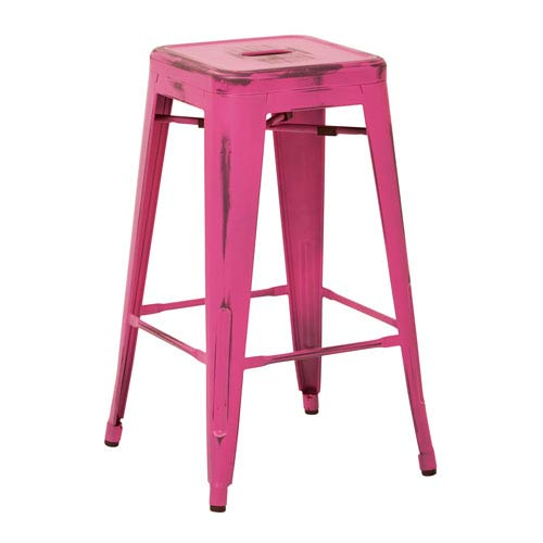 Office Star Products Bristow 26-Inch Antique Metal Barstool, Antique Pink Finish, Set of 4