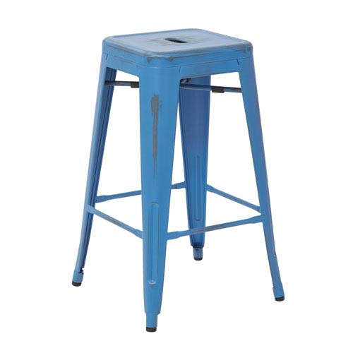 Office Star Products Bristow 26 Inch Antique Metal Barstool Royal Blue Finish Set Of 4