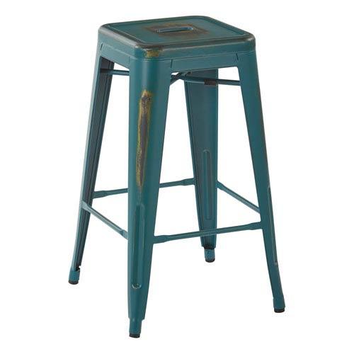 Bristow 26-Inch Antique Metal Barstool, Antique Turquoise, Set of 4