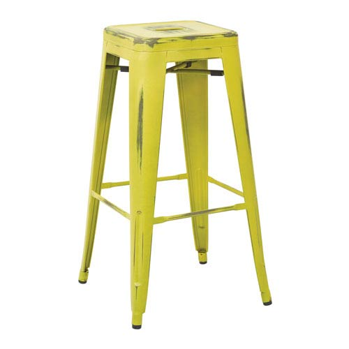Office Star Products Bristow 30-Inch Antique Metal Barstool, Antique Lime Finish, Set of 4