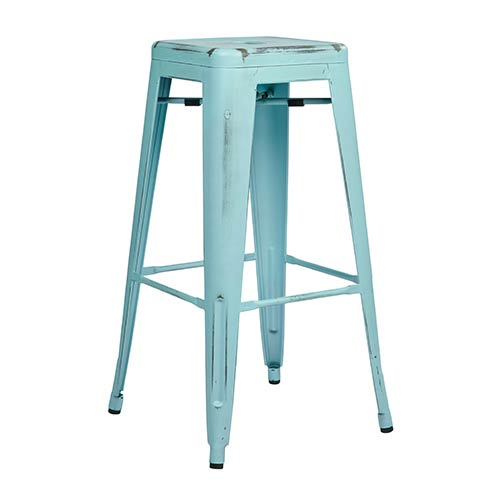 Bristow Antique Sky Blue 30-Inch High Metal Barstool, Set of 2