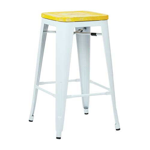 Office Star Products Bristow White and Pine Irish 26-Inch High Antique Metal Barstool with Vintage Wood Seat, Set of 2
