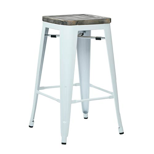 Office Star Products Bristow White and Ash Crazy Horse 26-Inch High Antique Metal Barstool with Vintage Wood Seat, Set of 2