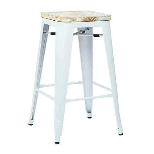 Office Star Products Bristow White and Ash Yellowstone 26-Inch High Antique Metal Barstool with Vintage Wood Seat, Set of 2