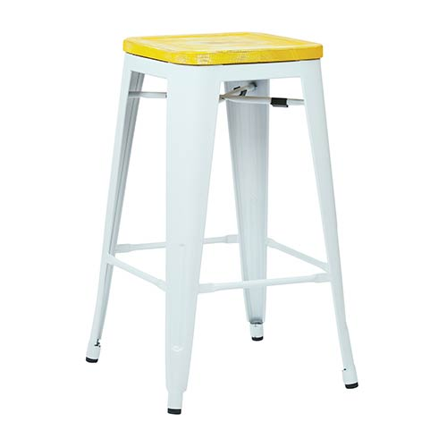 Office Star Products Bristow White and Pine Irish 26-Inch High Antique Metal Barstool with Vintage Wood Seat, Set of 4