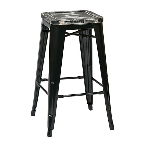 Office Star Products Bristow Black and Ash Crazy Horse 26-Inch High Antique Metal Barstool with Vintage Wood Seat, Set of 4